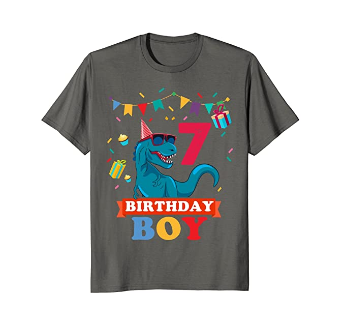 Mens 7th Birthday Boy T Shirt Dinosaur 2XL Asphalt