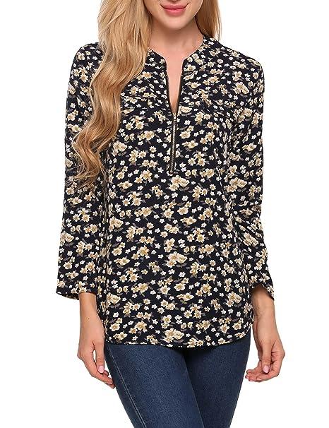AIMADO Blusas de Mujer Camisas Casuales Mangas Largas O Cuello Cremallera Medio Estampado para Primavera Otoño