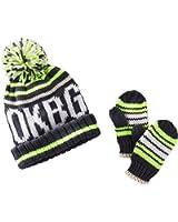 Oshkosh Little Boys' Knit Ski Hat & Mittens Set (2-4T, Grey Yellow)