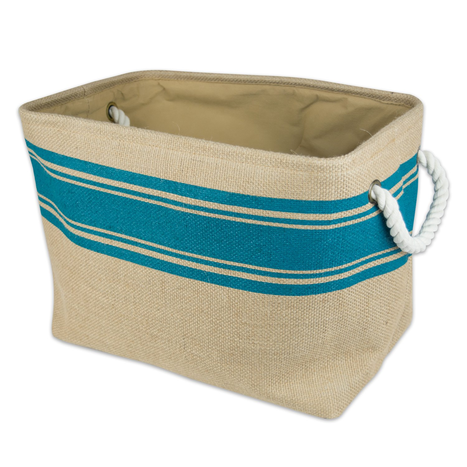 DII Collapsible Burlap Storage Basket or Bin with Durable Cotton Handles, Home Organizational Solution for Office, Bedroom, Closet, Toys, Laundry (Large – 18x12x15), Teal Border