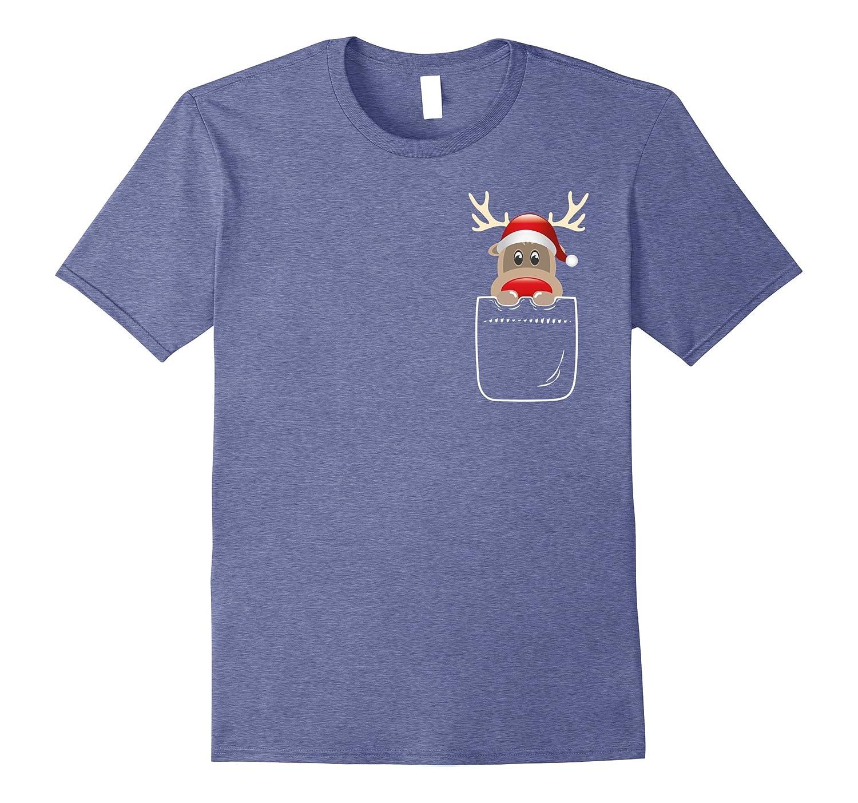 Cute Christmas Santa Reindeer In Your Front Pocket T-Shirt-FL