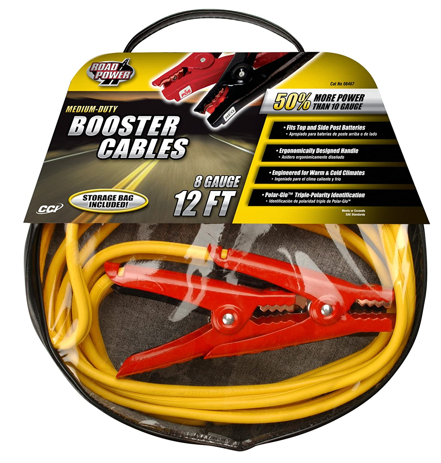 Coleman Cable 08467 12-Foot Medium-Duty Booster Cables with Bag