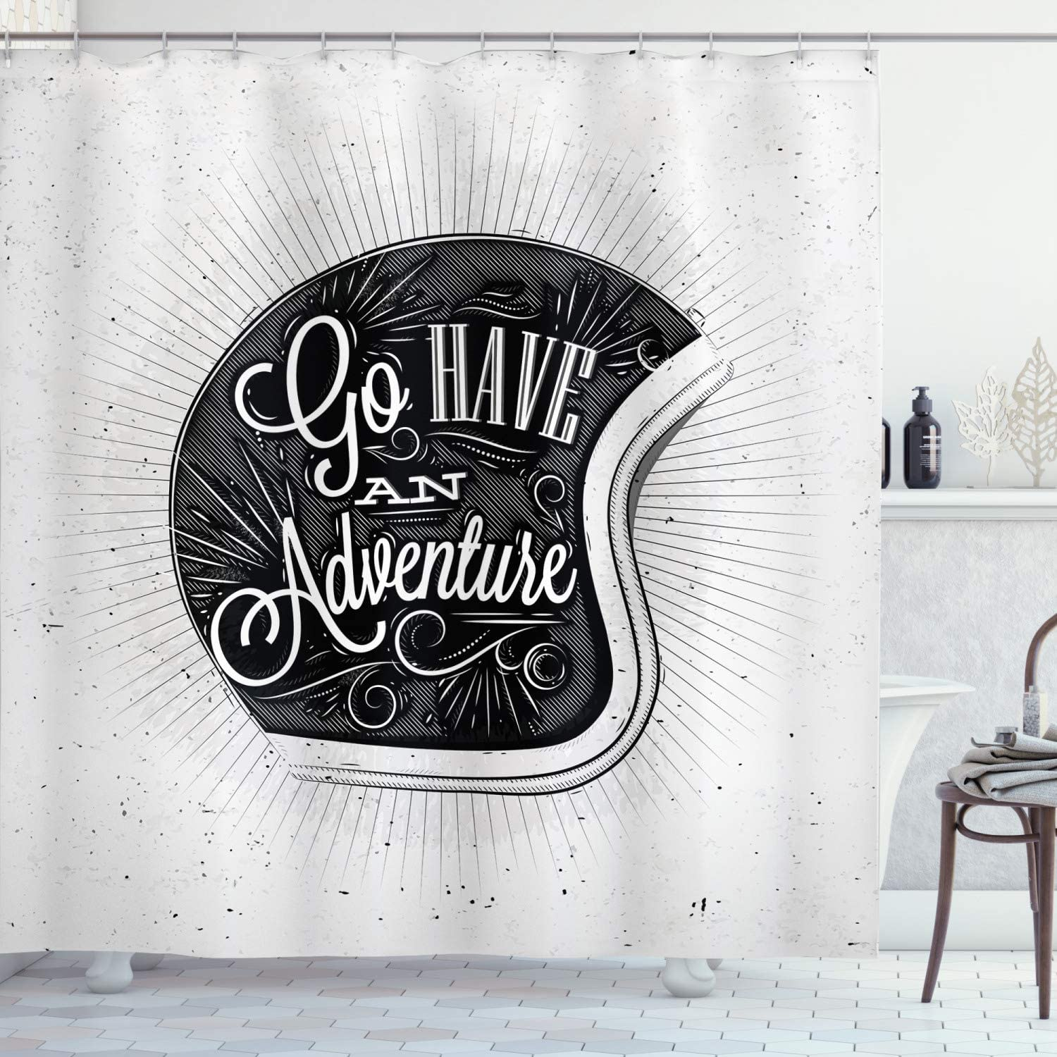 Ambesonne Vintage Decor Shower Curtain, Motorcycle Figure with Adventure Quote and Ornate Lines Contemporary New Graphic, Fabric Bathroom Decor Set with Hooks, 70 Inches, Grey