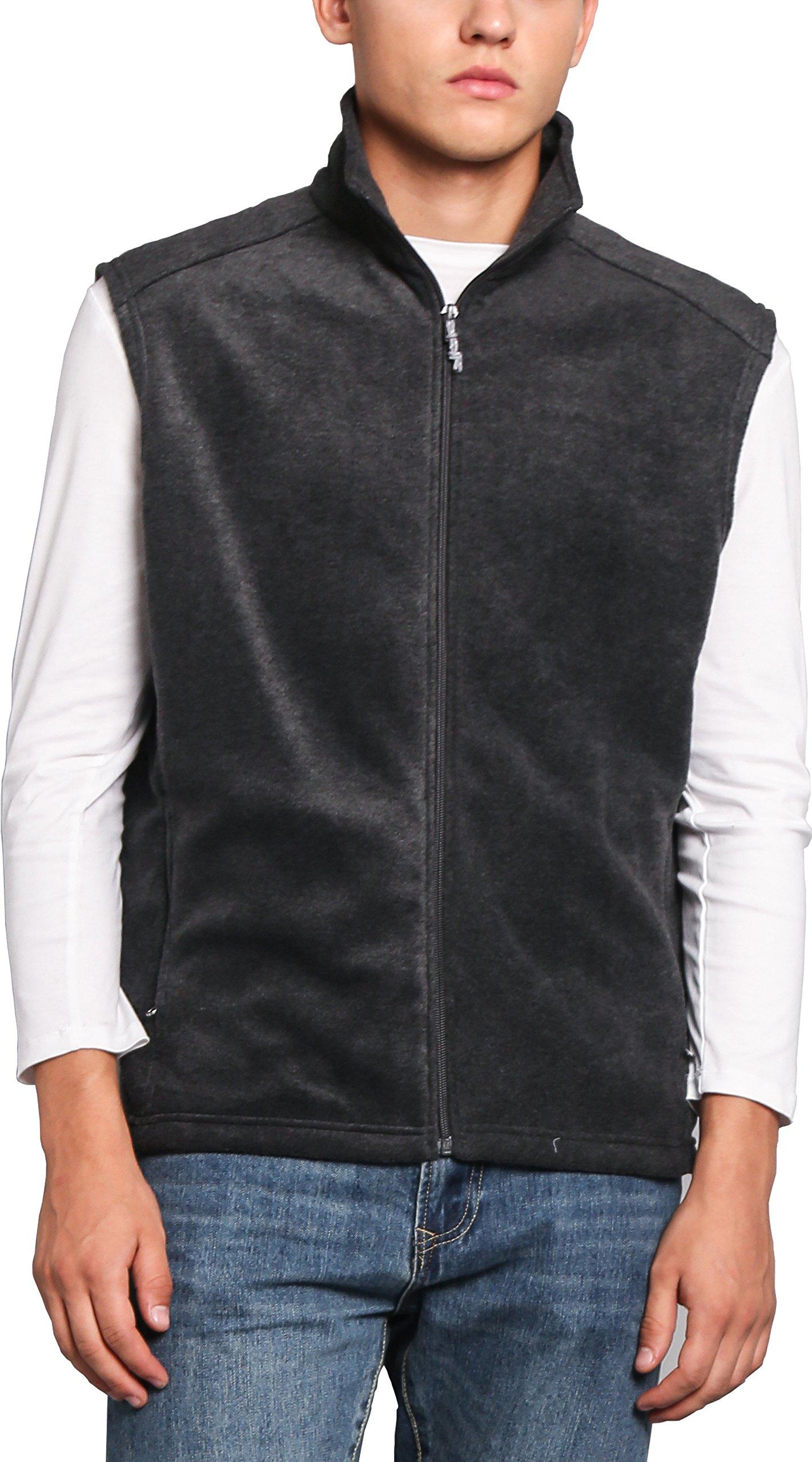 Oalka Men's Full Zip Soft Sport Fleece Vests Heather Dark Grey XXL