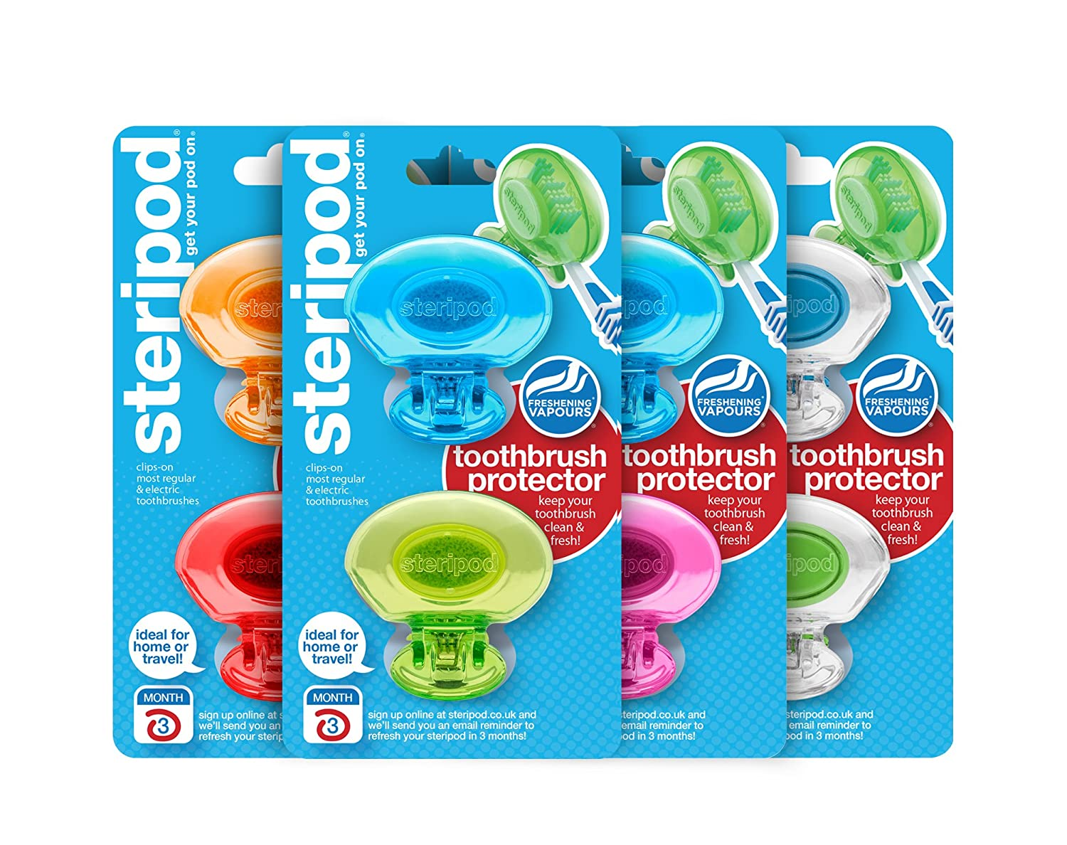 Steripod Clip On Toothbrush Protector (8 Steripods) Multi Color by Steripod