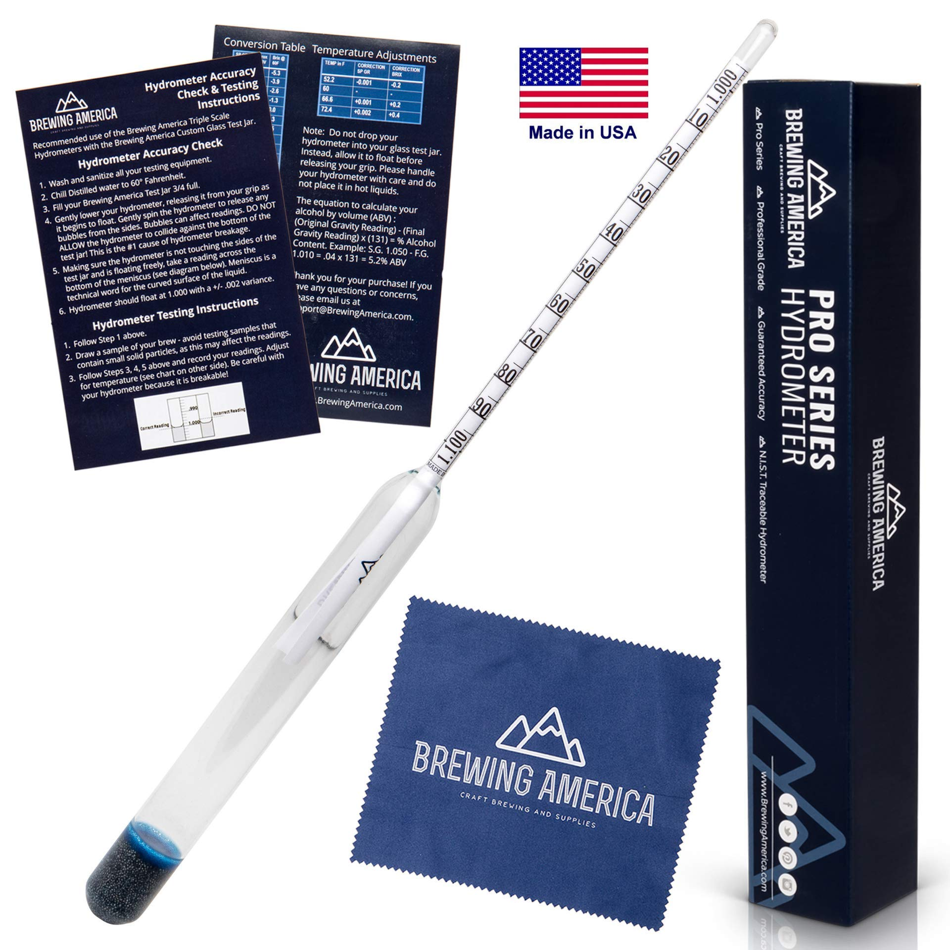 American-Made Precision Hydrometer Alcohol by Volume ABV Tester - Accurate Final Gravity Testing, Finished Beer - Pro Series Finishing NIST Traceable (SINGLE) Brewing America by Brewing America