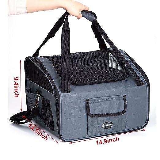 Plegable Portador de viaje del Asiento de coche para Mascotas Perros y Gatos, Gris Oscuro: Amazon.es: Productos para mascotas