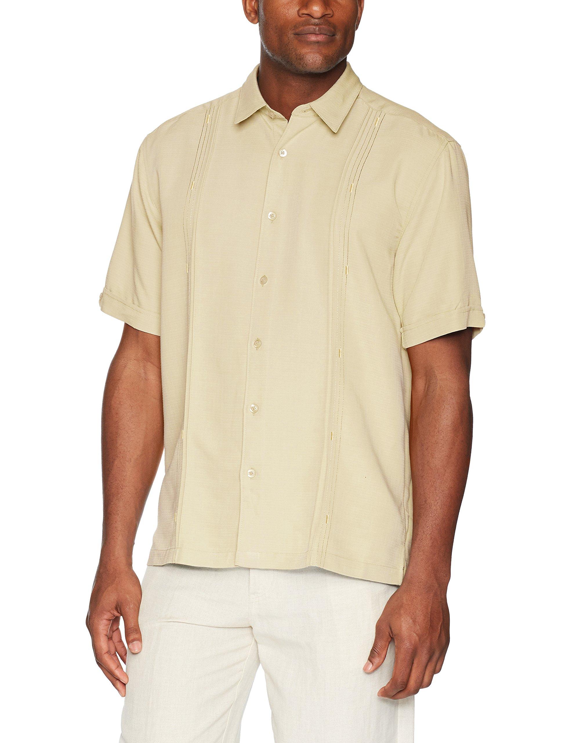 Cubavera Men's Short Sleeve Cuban Camp Shirt Contrast Insert Panels, Banana Crepe Variating Tuck Pattern, Extra Large