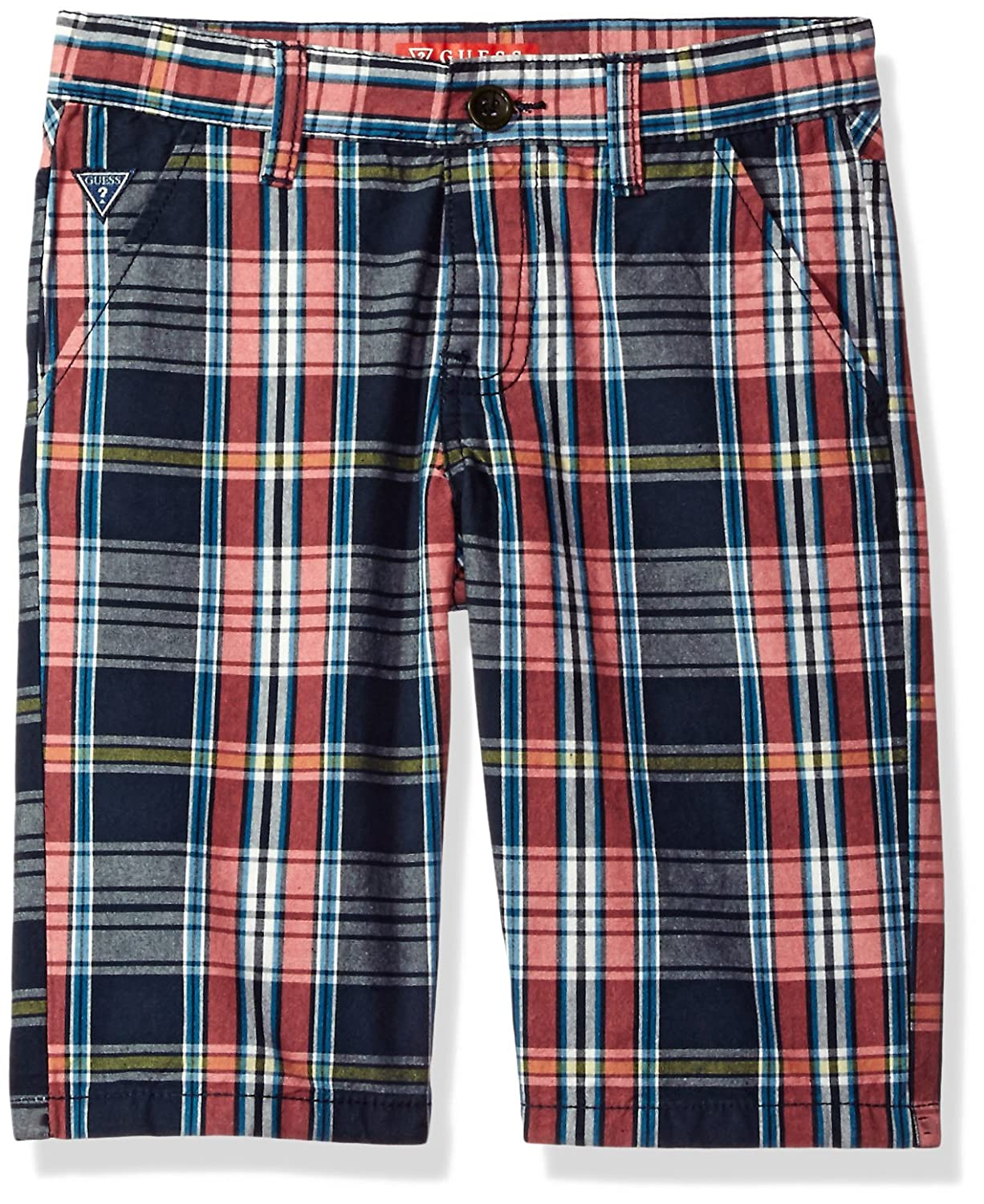 Check Red//Blue//White 10 GUESS Boys Big Plaid Cargo Short