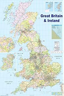 Amazon giant gp 200 laminated political map of the world poster huge laminated encapsulated map of the uk 2009 gb great britain poster measures 36 x 24 gumiabroncs Images
