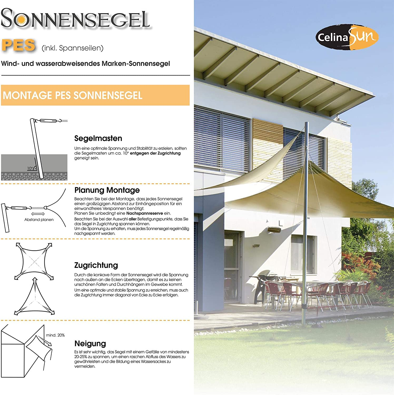 CelinaSun Sonnensegel inkl Befestigungsseile PES Polyester wasserabweisend impr/ägniert Dreieck rechtwinklig 3 x 3 x 4,25 m gr/ün