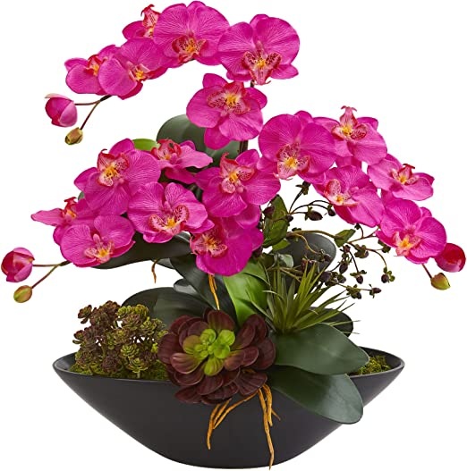 Nearly Natural 1605-OR Phalaenopsis Orchid and Mixed Succulent Garden Artificial Black Vase Silk Arrangements Purple