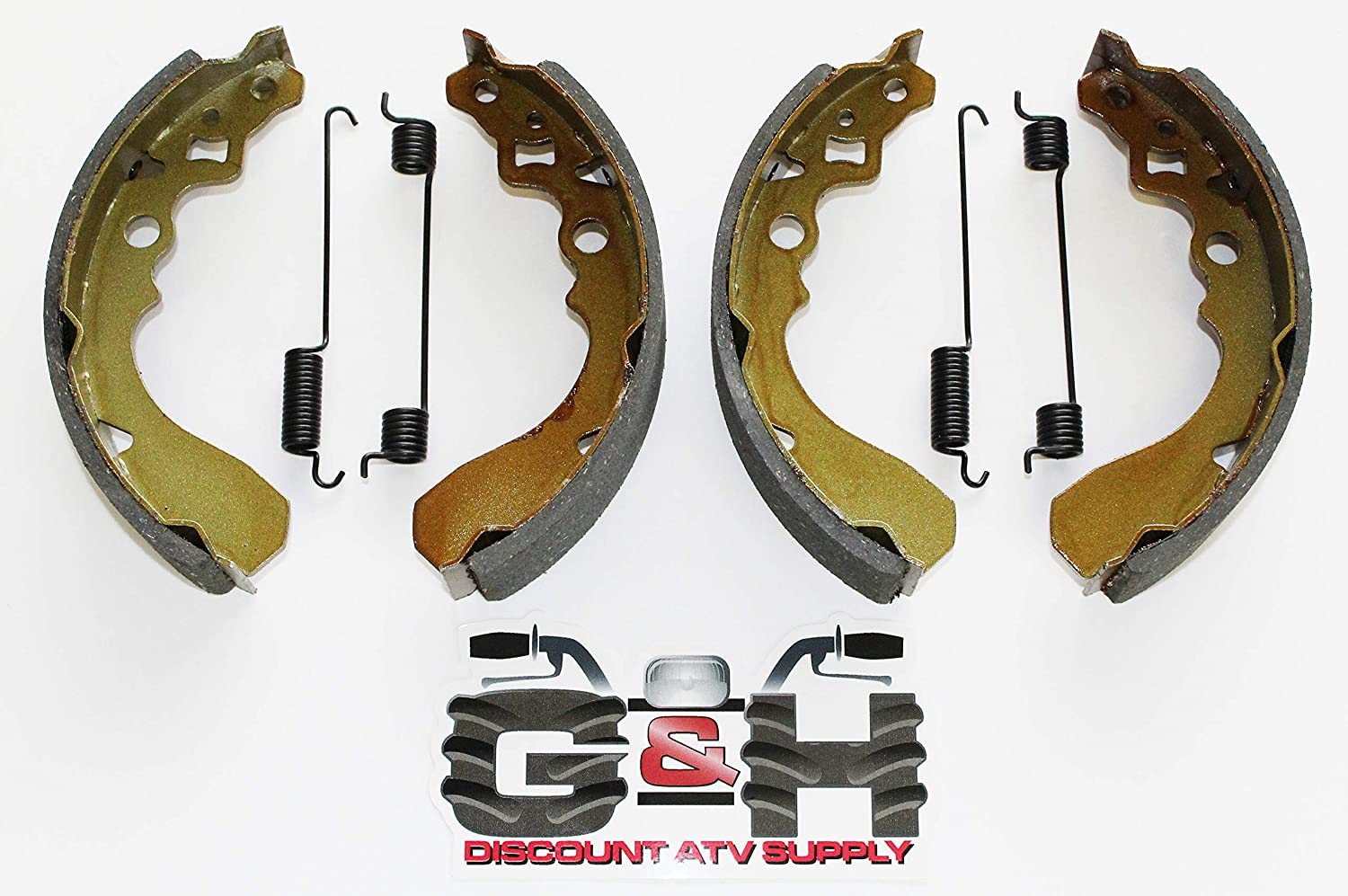 2 Sets of WATER GROOVED Rear Brake Shoes /& Springs for the 1997-2004 Kawasaki KAF 300 Mule 500 520 550