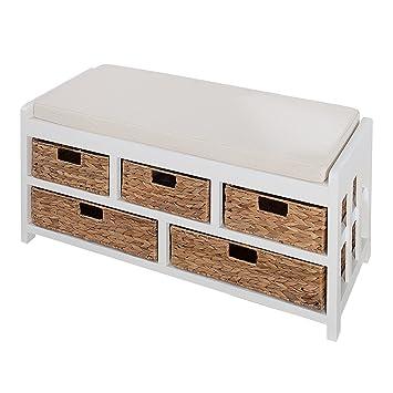 Design Sitzbank SCANDINAVIA weiß Akazie mit Aufbewahrung Schubladen ...
