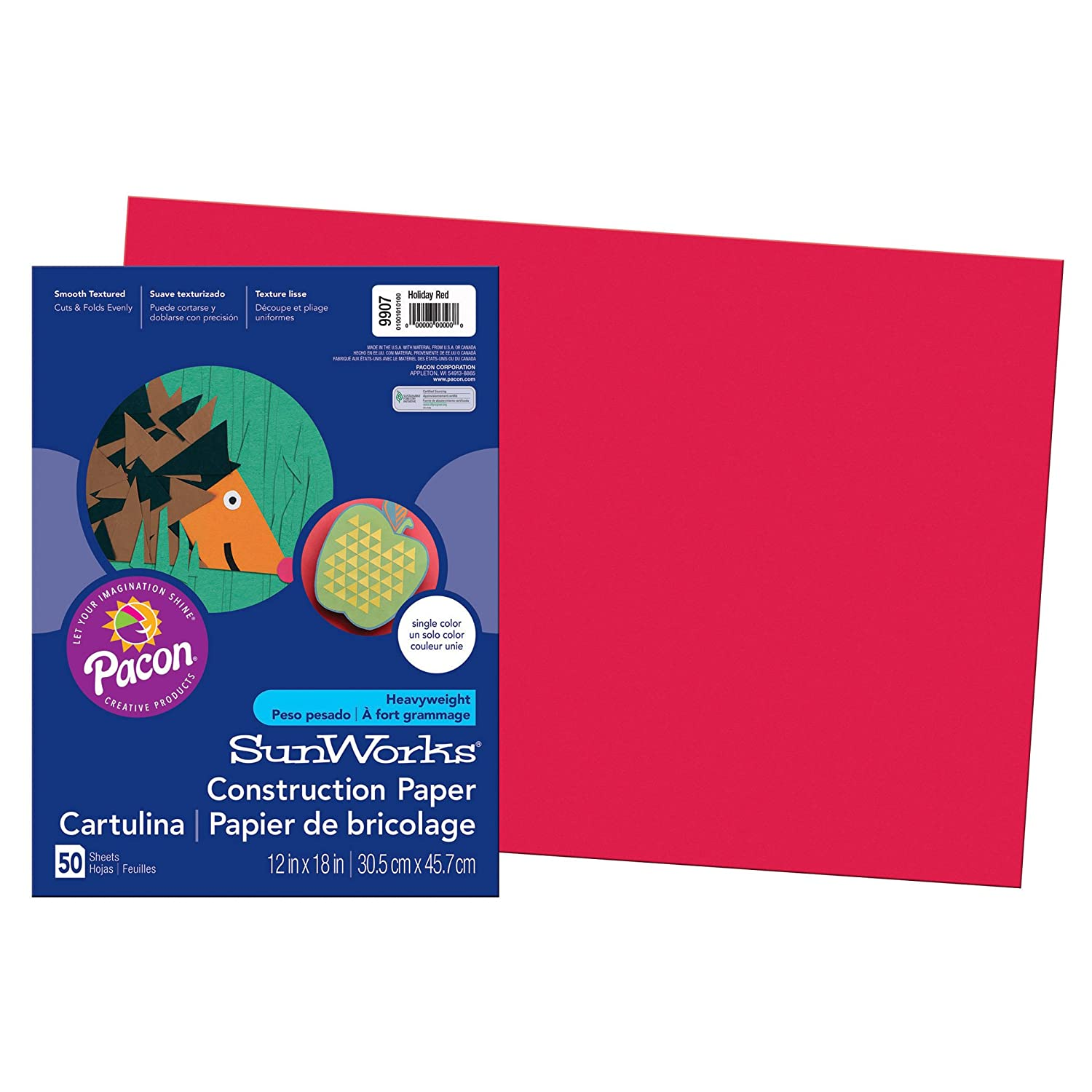 Pacon SunWorks Construction Paper, 12-Inches by 18-Inches, 50-Count, Assorted (6507)