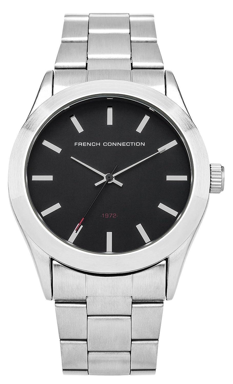 French Connection SFC109BSM - Reloj de cuarzo para hombres con esfera negra y correa plateada de acero inoxidable