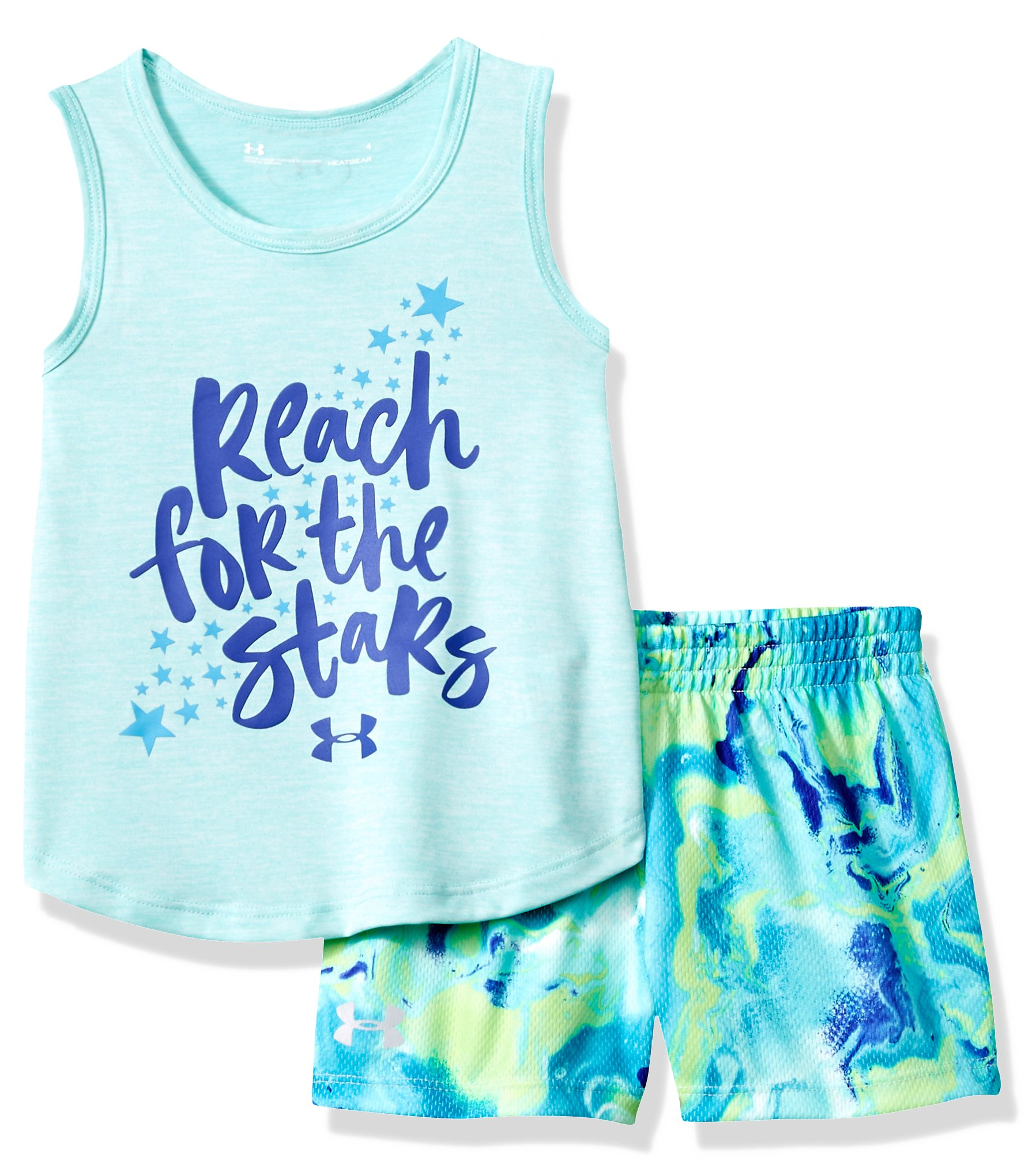 Under Armour Toddler Girls' UA Tank and Short Set, Blue Infinity, 4T
