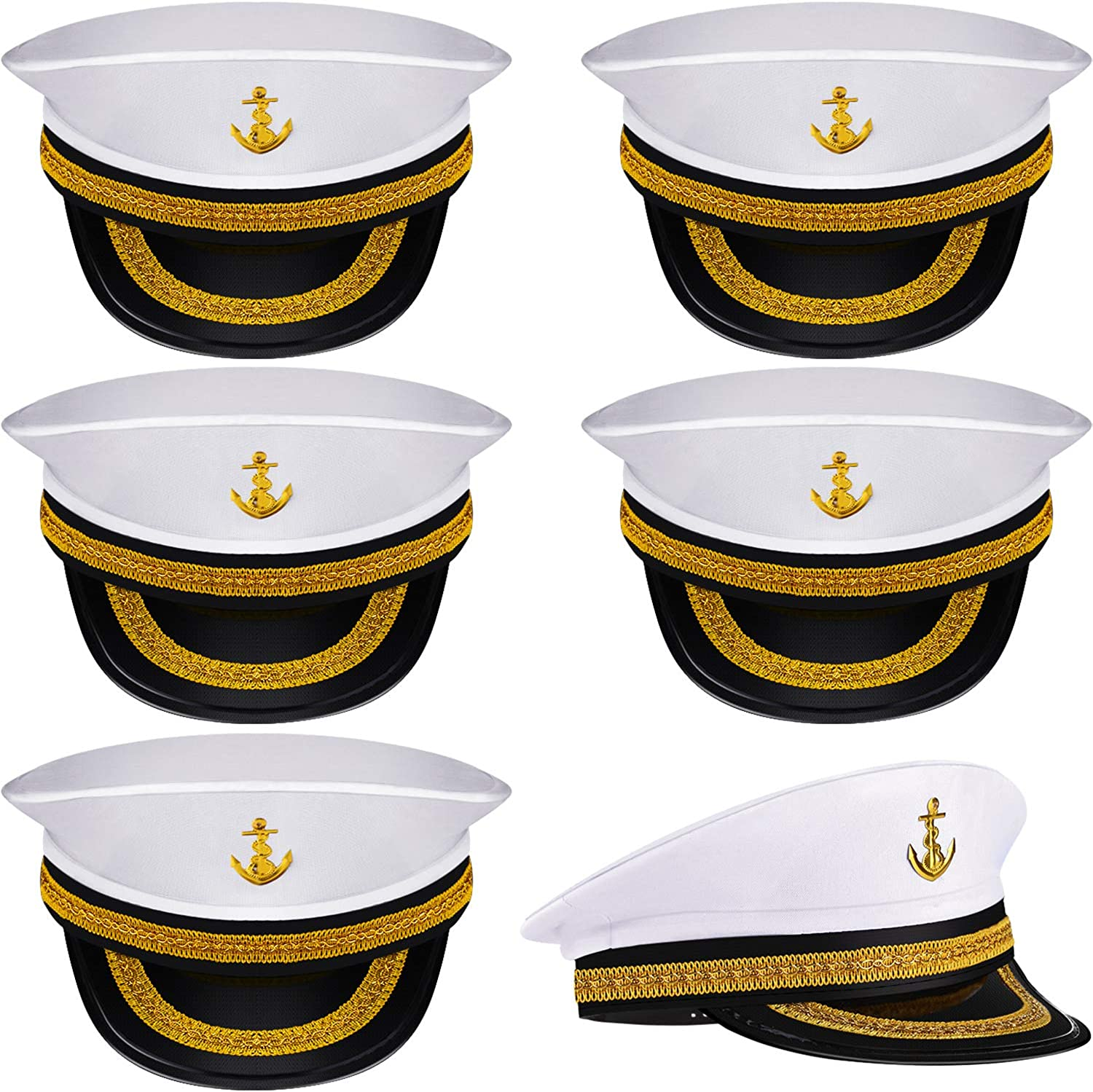 Boao 6 Pieces Halloween White Sailor Hat Navy Captain Caps Yacht Nautical Hats for Adult Sailor Costume, Dress Up Party Hats