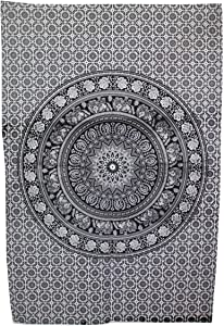 Marubhumi Indian Tapestry Wall hangings Black and White Hippie Mandala Tapestry Wall Art Collage Dorm Beach Throw Bohemian Tapestry Wall Decor Boho Bedspread, Twin (Small, Black & White)