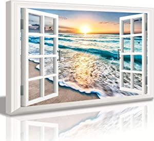 DJSYLIFE Bedroom Decor Beach Wall Art Canvas Wall Art for Living Room Nautical Coastal Ocean Fake Window Pictures for Bathroom Accessories Painting Sea Aesthetic Home Decorations 24X36 Poster Frame