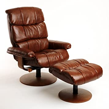 Beau Mac Motion Chairs Swivel Recliner With Ottoman, Vintage Bonded Leather With  Walnut Wood Frame