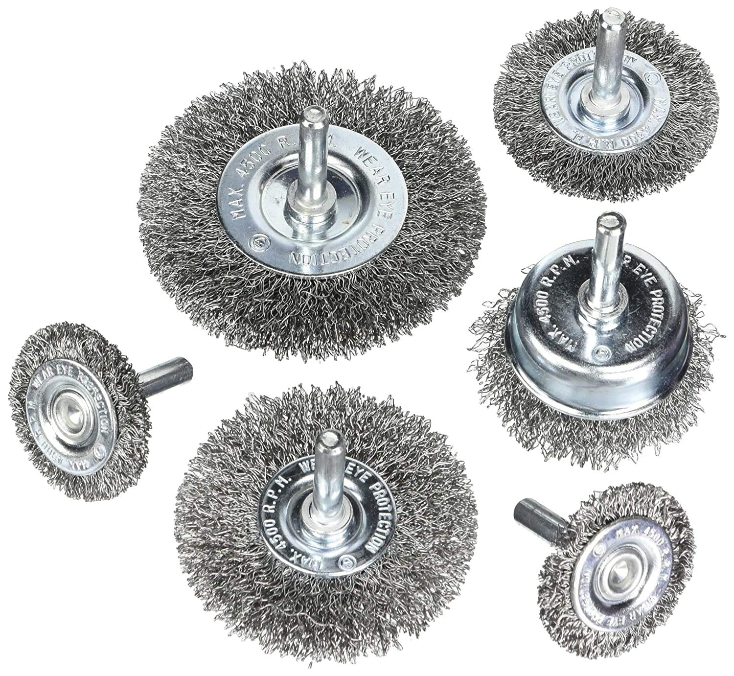 HOYIN Wire Wheel Cup Brush Set, Coarse Crimped Carbon Steel
