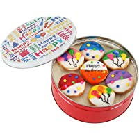 Happy Birthday Cookie Gift basket Tin filled with 21 individually hand decorated assorted colored black and whites. 7…