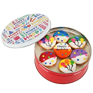 Happy birthday gift basket Tin filled with 21 individually hand decorated assorted colored black and whites. 7 bright colors Great Birthday Gift idea for HIM HER BOYS GIRLS MEN WOMEN PRIME DELIVERY