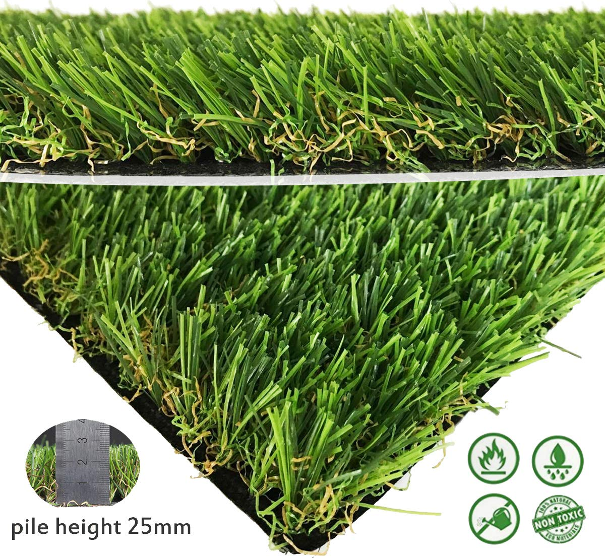Artifical Grass Rug, Drainage Holes & Rubber Backing, Realistic Synthetic Fake Grass Mat For Indoor Outdoor Garden Landscape Pet Grass Rug Turf, Blade Height 1'' (3.3ft x 13.1ft)