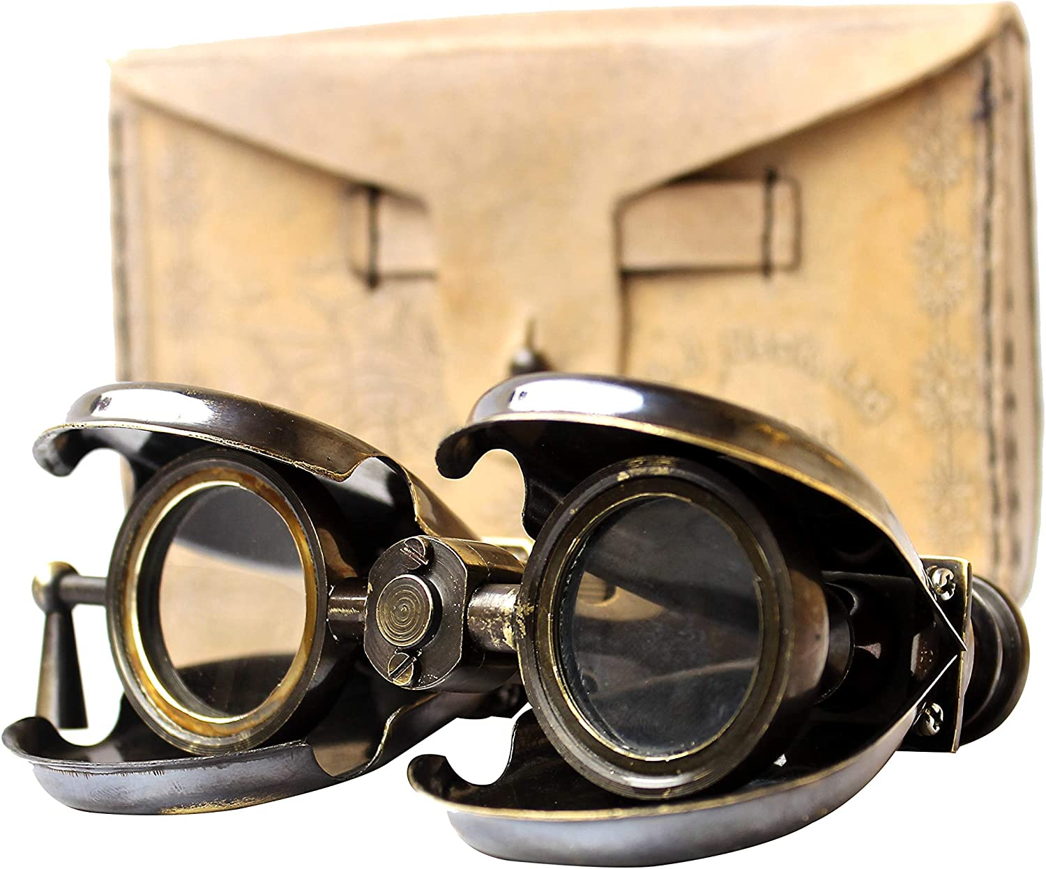 Vintage Antique Spy Glass 1857 R & J Beck Brass Binocular with Leather Case