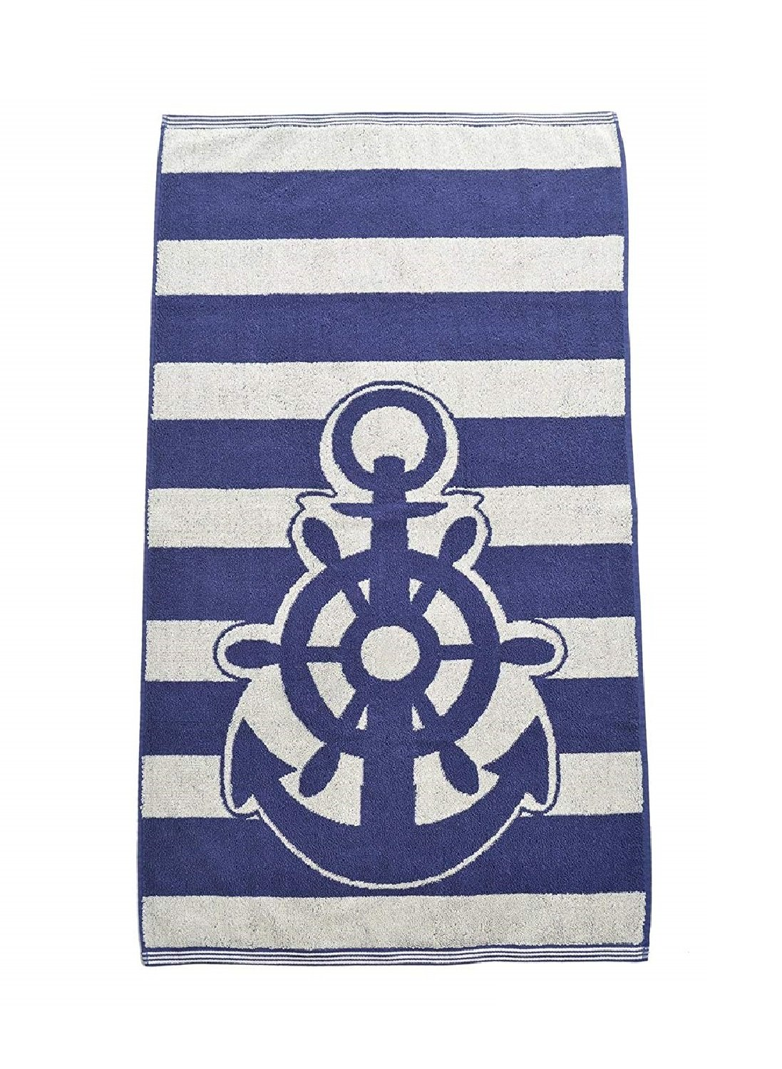 Allure Bath Fashions Beach Towel Jacquard Woven Anchor Beach Towels for Men, Woman, Adults, Kids, Sunbeds, Sun Loungers, Swimming in Blue and White - Pack of 1
