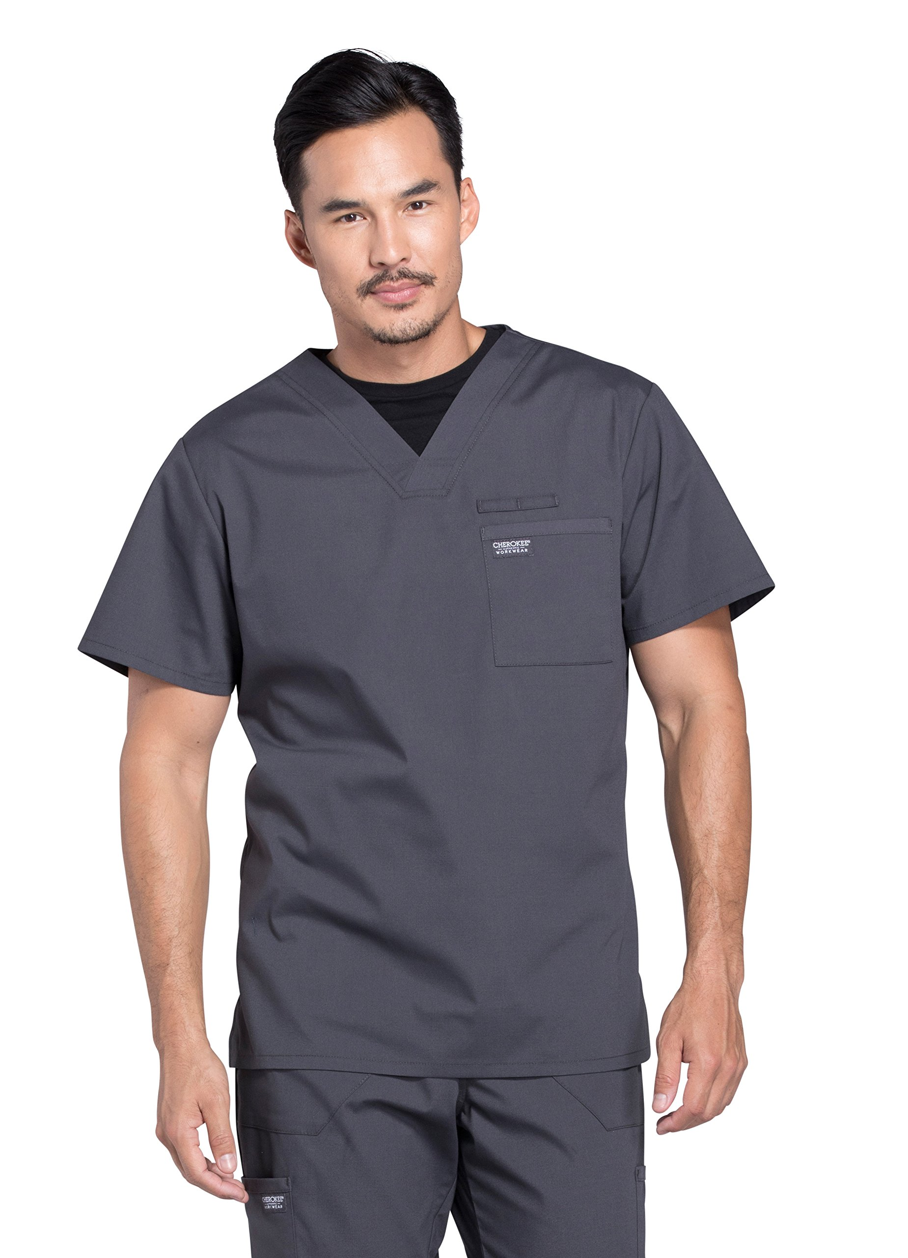 Cherokee Workwear Professionals WW675 Men's V-Neck Top- Pewter- X-Large