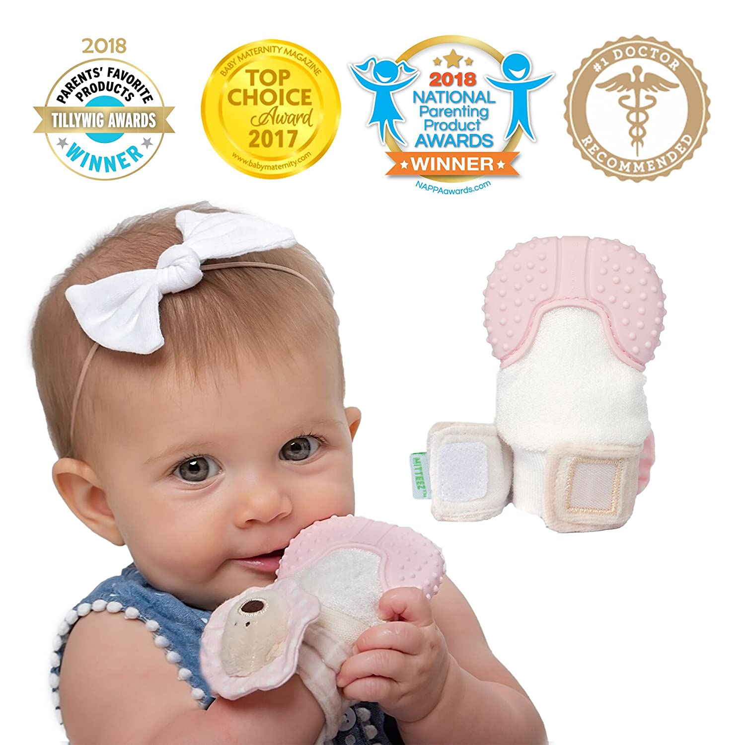 MITTEEZ Organic Premium Teething Mitten and Keepsake for babies 0-6 months - Pink PK1-S1-7760