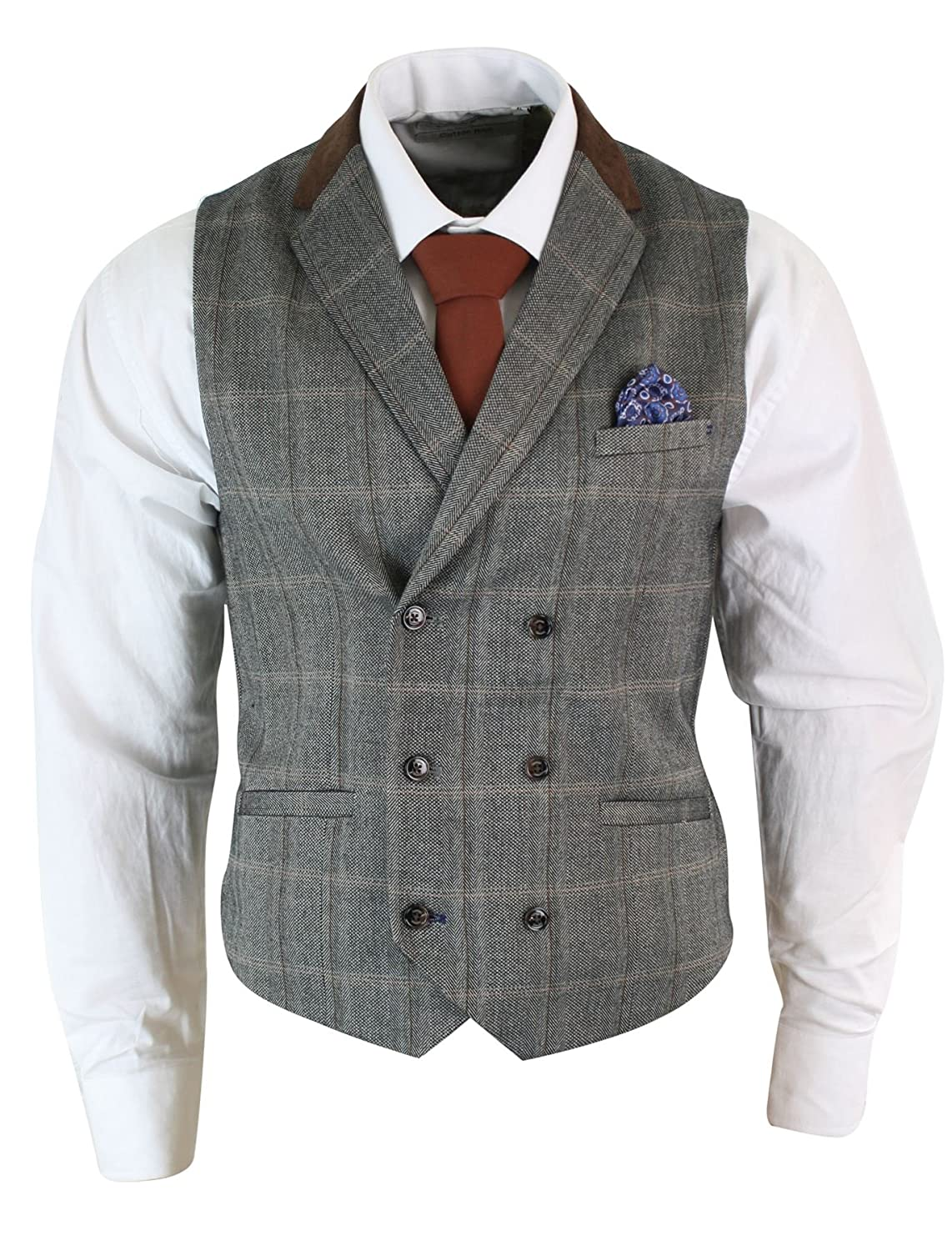 1920s Men's Fashion UK | Peaky Blinders Clothing Mens Double Breasted Herringbone Tweed Peaky Blinders Vintage Check Waistcoat £34.99 AT vintagedancer.com