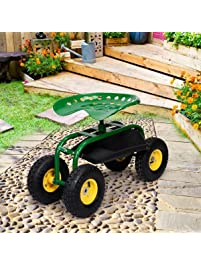 Garden Cart Work Seat With Heavy Duty Tool Tray Gardening Planting Green