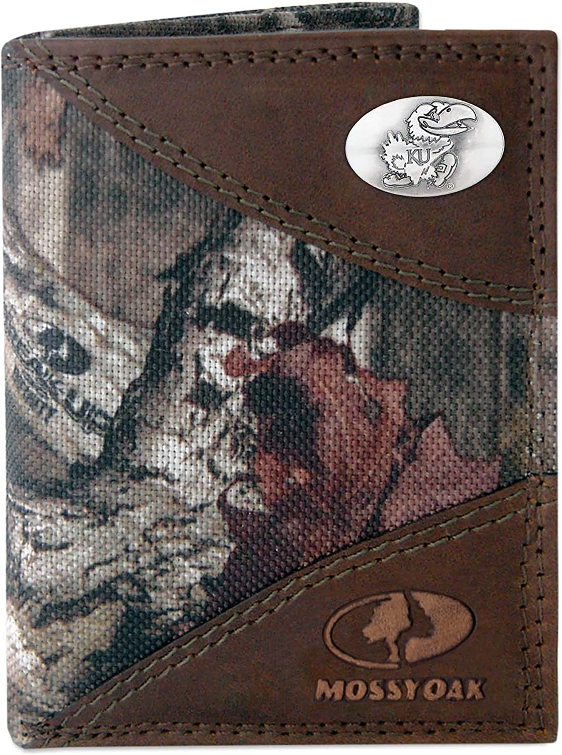 ZEP-PRO NCAA mens Zep-pro Mossy Oak Nylon and Leather Trifold Concho Wallet
