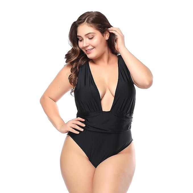 Amazon.com: ALVABABY Traje de baño de una pieza para mujer ...
