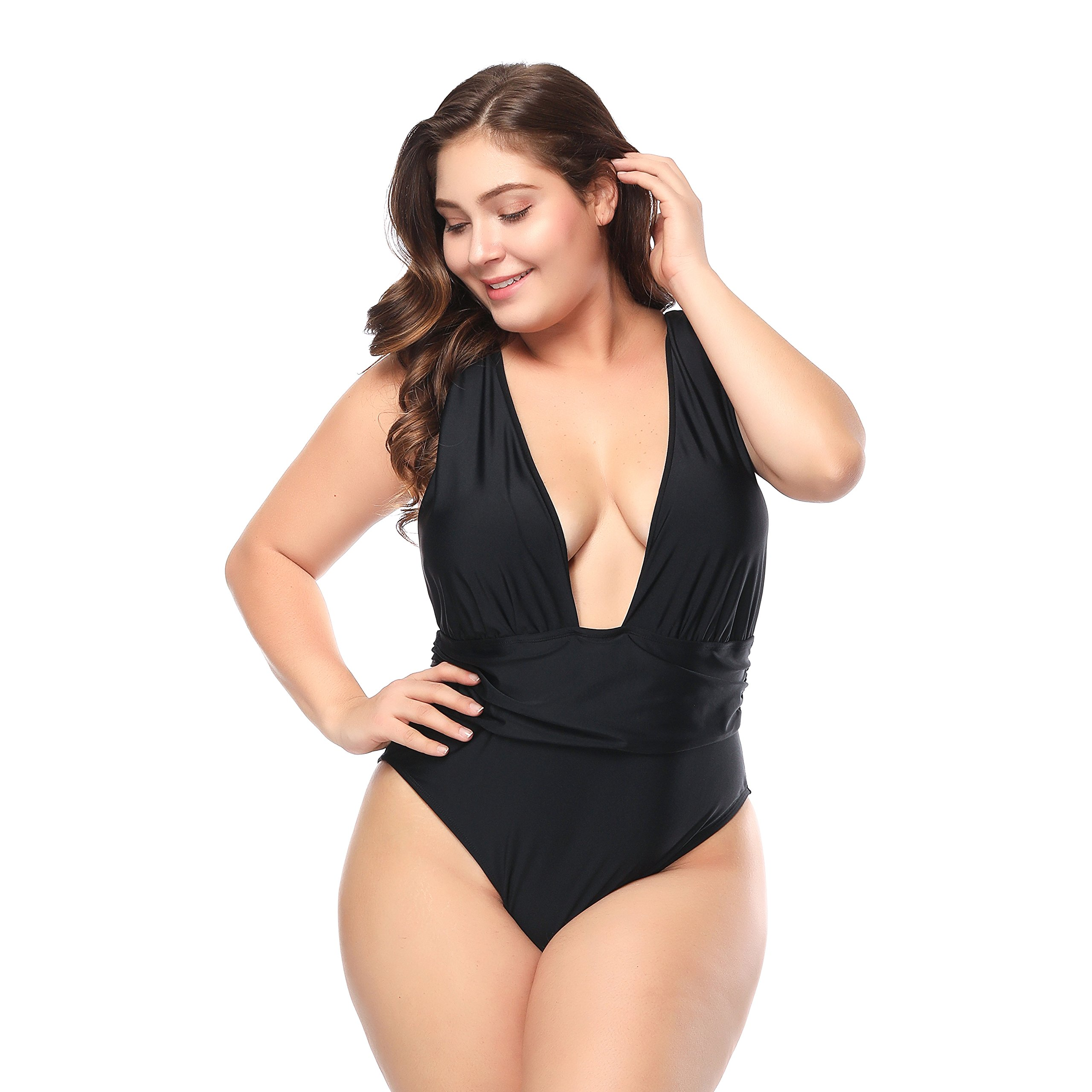 ALVABABY Women Fashion Plus Size Swimsuit Swimwear One Piece Bathing Suit (Best Gift for Mother's Day) (Black 02, XXXXX-Large)