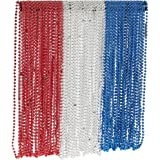 72-Piece Mardi Gras Bulk Beads Set for Outfit Costume Wear, Games, Decoration, Party Favors, Red, White, Blue Colors
