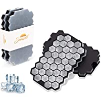 Sunset Silicone Ice Cube Trays - Pack of 2 Hexagon Ice Cube Molds with Lids | 74 Flexible Ice Moulds for Whiskey…