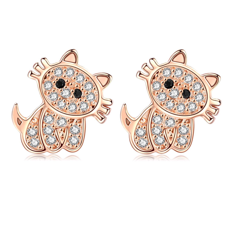 18G Stainless Steel Cute Cat Cubic Zirconia Cartilage Ear Stud Helix Earrings Women Girls 2Pieces