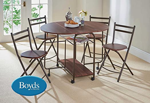 folding dining table and chairs stowaway dining set with butterfly table with castors cappuccino brown