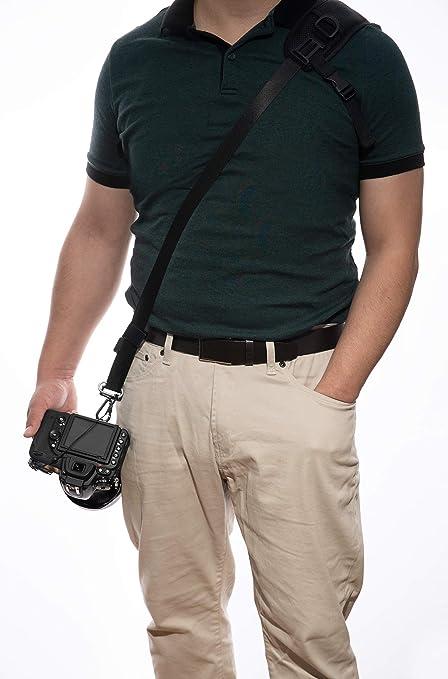 Neoprene//Vintage Leather Shoulder Pad Cushion /& Bonus Lens Cap Holders for DSLR Movo MP-SS7 V2 Rapid Action Camera Sling Strap with Quick Release Clip Mirrorless Cameras /& Binoculars