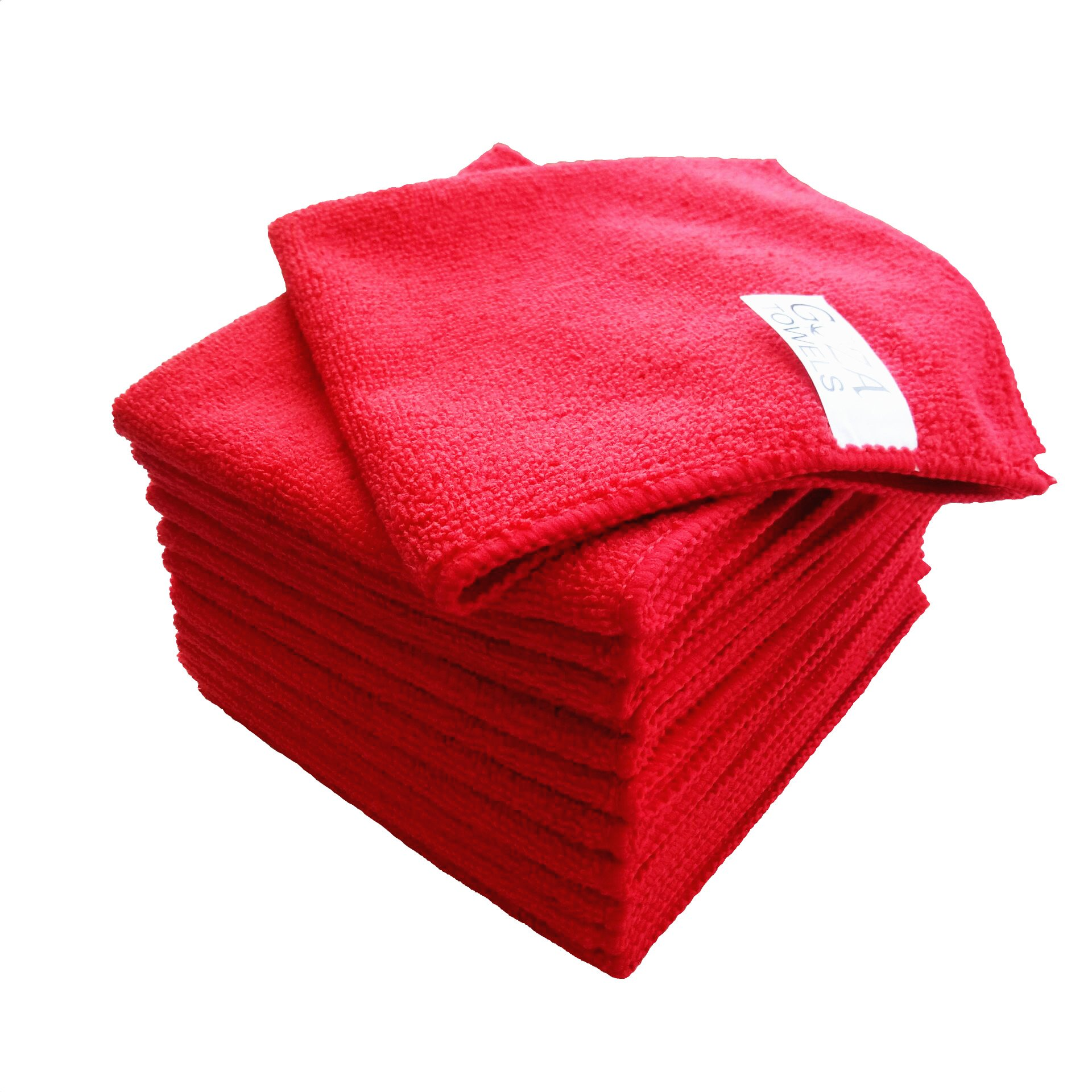 Goza Towels Microfiber Towel Cleaning Cloths Professional Grade All-Purpose 12''x12'' (Red, 12 Pack)