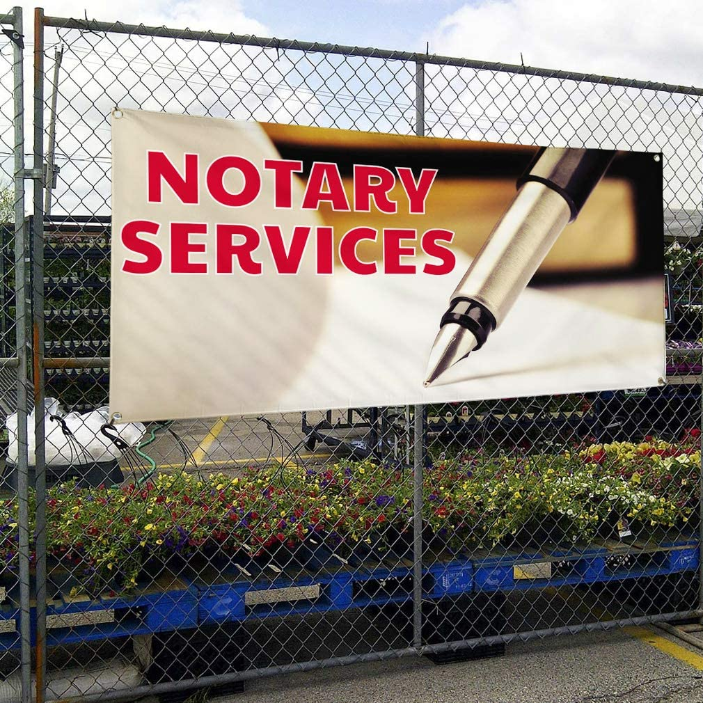 Vinyl Banner Multiple Sizes Notary Services Outdoor Advertising Printing Business Outdoor Weatherproof Industrial Yard Signs White 8 Grommets 48x96Inches