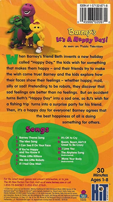 amazon com barney\u0027s it\u0027s a happy day (toys r us exclusive) [vhs