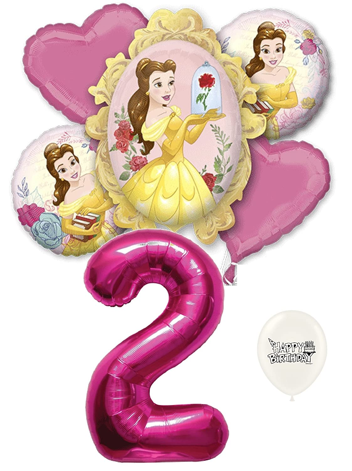 2 nd Birthday Beauty and the Beast Belleパーティーデコレーションバルーンブーケby Ballooney 's   B07BCMYV4W
