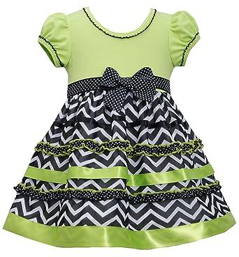 Amazon little girls 2t 6x lime green black white chevron stripe lime green black white chevron stripe ribbon ruffle dress lm2bu lime bonnie jean mightylinksfo
