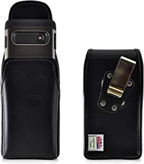product image for Galaxy S10 Belt Case, Turtleback Vertical Galaxy S10 Holster, Black Leather Pouch with Heavy Duty Rotating Belt Clip, Made in USA