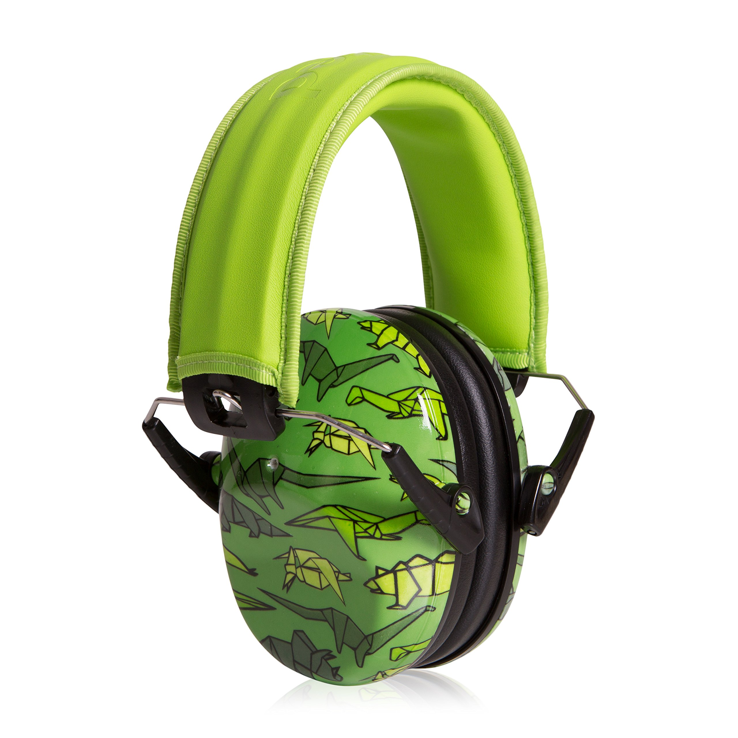Muted Designer Hearing Protection For Infants & Kids - Adjustable Children's Ear Muffs from Toddler to Teen - Origamisaurus